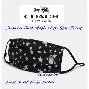 NWT COACH BLACK SHARKY FACE MASK WITH STAR PRINT